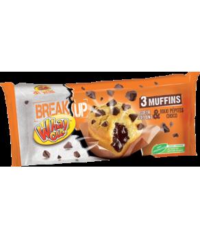 3 Muffins nature aux pépites et coeur de chocolat