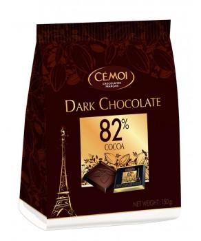 Carrés de chocolat noir 82 % de Cacao Cémoi